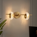 2-Head Carved Rings Wall Light Post-Modern Brass Crystal LED Wall Mounted Lamp for Living Room