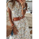 Pretty Ladies Ditsy Floral Printed Short Sleeve Stand Collar Button down Midi A-line Dress in Yellow