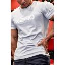 Fitness Letter Xeno Print Short Sleeve Crew Neck Regular Fit T-shirt for Guys