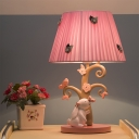 Gathered Fabric Pink Night Light Rabbit Under The Tree 1-Light Countryside Table Lamp with Tapered Lamp Shade