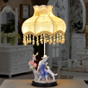 1 Bulb Ceramic Table Light American Garden Beige Floral Night Light with Farm Boy and Dog Statue