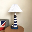 Conical Pleated Fabric Night Lamp Kid Single Black and White Table Light with Tower Base for Children Room