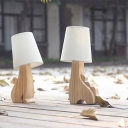 Kids Cat/Dinosaur Wood Table Light 1 Bulb Nightstand Lamp with Conical Fabric Shade in White