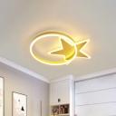 Acrylic Star and Circle Thin Flushmount Minimalist Gold Finish LED Ceiling Flush Mount Lamp in Warm/White Light