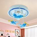 Aircraft Bedroom Semi Mount Lighting Acrylic 3-Light Cartoon LED Ceiling Flush in Blue