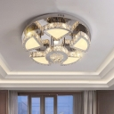 Contemporary Circular Flush Mount Light LED Beveled Crystal Ceiling Mounted Fixture, 24