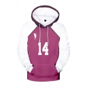 3D Cosplay Number Letter Graphic Contrasted Long Sleeve Drawstring Pouch Pocket Trendy Hoodie in Purple