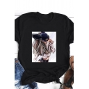 Black Cartoon Figure Print Rolled Short Sleeves Crew Neck Regular Fit Stylish T-shirt for Girls