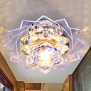 Lotus Hallway Ceiling Light Fixture Modern Crystal LED Yellow Flushmount in Purple/Blue Light