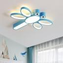 Acrylic Dragonfly Flush Mount Spotlight Kids Pink/Blue LED Ceiling Light Fixture in Warm/White Light
