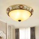 2/3 Lights Flush Ceiling Light Country Bedroom Flush Mount Fixture with Bowl Opal Glass Shade in Brass