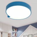 Acrylic Bubble Chat Box Flush Mount Macaron Blue/Yellow LED Close to Ceiling Lighting Fixture for Nursery School