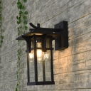 1 Light Lantern Wall Lighting Country Black/Bronze Clear Water Glass Wall Light Fixture for Outdoor