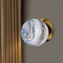 Brass Ball Wall Light Sconce Modernism 1-Bulb Blue/Yellow Interstellar Glass Wall Mounted Lamp