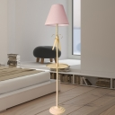 Tapered Fabric Floor Lamp Modern 1 Light Pink/Yellow Standing Light with Bow Decor and Storage Tray