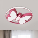 LED Nursery Flush Mount Lighting Cartoon White/Pink/Blue Ceiling Light with Butterfly Acrylic Shade in Warm/White Light