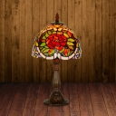 1-Bulb Table Light Tiffany Dome Shade Stained Art Glass Floral Patterned Night Lamp in Bronze