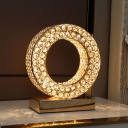 Ring Bedroom Nightstand Light Luxury Faceted Crystal LED Gold Night Table Lighting