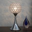 Silver Globe Night Table Lamp Modern Cut Crystal 1 Bulb Living Room Nightstand Light