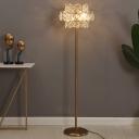 Minimalism 2 Tiers Floor Lamp 6 Lights Clear Crystal Block Floor Standing Light in Gold