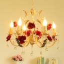 6 Heads Rose-Detail Candle Chandelier Rustic Beige Iron Hanging Lamp with Crystal Drips