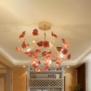 7-Head Ceramic Ceiling Mount Chandelier Romantic Modern Red Rose Blossom Semi Flush Light Fixture with Crystal Accent