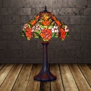 1 Head Night Light Tiffany Style Bowl Hand Cut Glass Rose Patterned Nightstand Lighting in Coffee