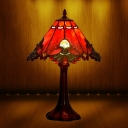 Coffee 1-Light Table Lamp Tiffany Hand Cut Glass Conical Night Lighting with Metal Base