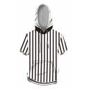 Stylish Stripe 3D Printed Short Sleeve Drawstring Pouch Pocket Relaxed Fitted Hoodie in White