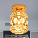 Crystal-Encrusted Gold Flush Mounted Lamp Cylinder Hollowed Out 1-Light Modern Style Ceiling Light