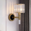 1 Head Drum Small Wall Light Postmodern Gold Prismatic Crystal Sconce Lighting Fixture