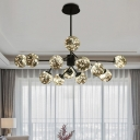 Branchlet Chandelier Modern Smoke Grey Glass 12 Lights Dining Table Pendant Lighting with Glow String Inside