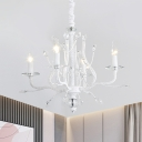 French Country Candelabra Pendant Lamp 4/6 Bulbs Crystal Chandelier Light in White for Dining Room