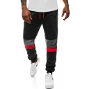 Popular Contrasted Patched Drawstring Waist Cuffed Ankle Relaxed Sweatpants for Boys