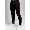 Stylish Mens Contrasted Side Drawstring Waist Cuffed Ankle Length Fitted Sweatpants