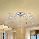 Aluminum Wire Woven Ball Semi Flush Light Modern Style 5 Heads Ceiling Lighting with Branch Design in Chrome