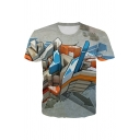 Cartoon Arrow 3D Printed Short Sleeve Crew Neck Fitted Stylish Tee Top in Gray