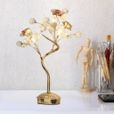 Branch Bedroom Table Light Korean Flower Metal White/Pink LED Night Lamp with Crystal Accent