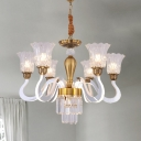Modern Scalloped Chandelier 6 Lights Clear Crystal Suspension Lighting with Glow Curved Arm