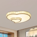 Crystal-Inserted White Flushmount Love Heart Shaped Romantic Modern LED Ceiling Light Fixture