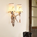 Frosted Print Glass Gold Wall Lamp Flared Shade 2 Bulbs Traditional Wall Mounted Light