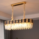 Black and Gold Oblong Island Light Mid Century Crystal 12 Bulbs Dining Table Hanging Pendant