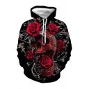 Rose Skull 3D Printed Long Sleeve Drawstring Pouch Pocket Loose Fit Cool Hoodie in Black