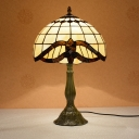 Lattice Bowl Shade Table Lamp Mediterranean Cut Glass 1-Head Bronze Night Lighting for Bedside