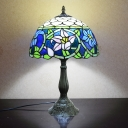 Cut Glass Domed Night Lighting Tiffany Style 1 Head Bronze Finish Blossom Patterned Table Lamp