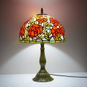 Stained Glass Pink/Orange Table Lighting Bowl Shape 1-Head Baroque Desk Light with Rose Pattern