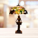2 Heads Dome Night Lamp Mediterranean Coffee Stained Art Glass Reading Girl Table Lighting with Pull Chain
