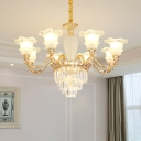 8-Head Ceiling Chandelier Modern Frosted Glass Ruffle Drop Lamp with Tiered Crystal Accent in Gold