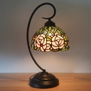 Tiffany Swooping Arm Night Light 1-Bulb Metallic Rose Patterned Table Lighting in Black/White with Dome Shade