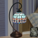 Domed Stained Glass Nightstand Lamp Tiffany 1 Head Yellow/Blue Night Lighting with Curvy Arm